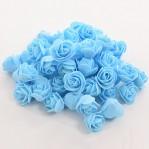 Foam roosje 2cm 5 stuks - blauw-licht