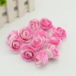 Foam roosje 2cm 5 stuks - roze/wit