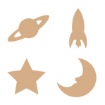Set 4 MDF ruimtevaart figuren